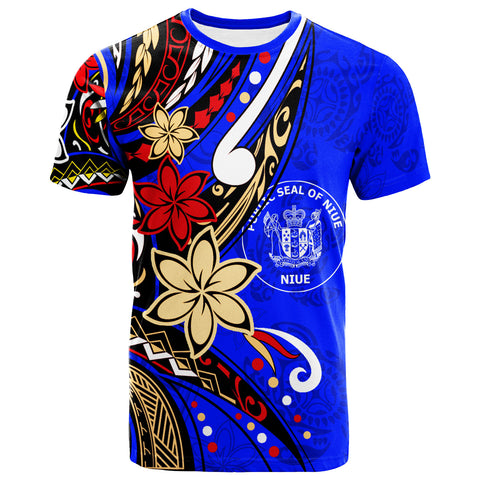 Niue T-Shirt - Tribal Flower With Special Turtles Dark Blue Color - BN20