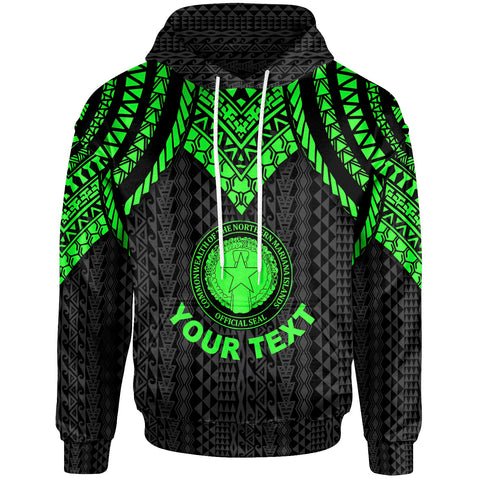 Northern Mariana Islands Custom Personalised Hoodie - Polynesian Armor Style Green - BN39