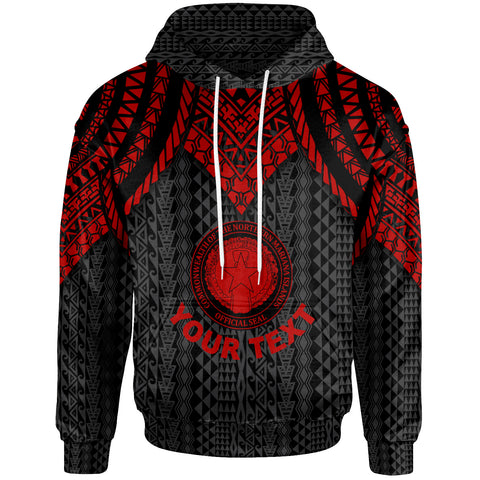 Northern Mariana Islands Custom Personalised Hoodie - Polynesian Armor Style Red - BN39