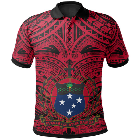 Samoa All Over Polo Shirt - American Samoa Coat Of Arms (Red) - BN17