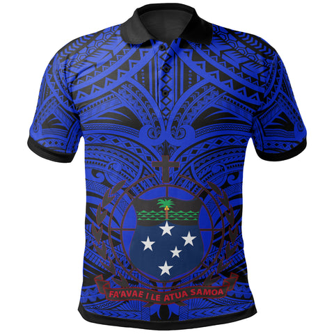 Samoa All Over Polo Shirt - American Samoa Coat Of Arms (Blue) - BN17
