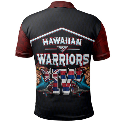 Hawaii Polo Shirt - Hawaiian Flag Kanaka Maoli Warrior On Shark - BN12