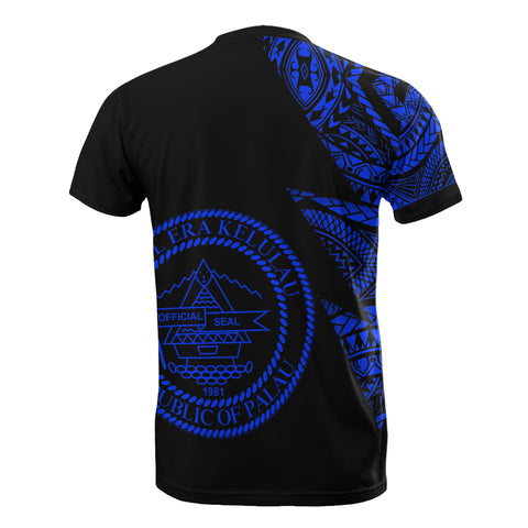 Image of Palau Custom Personalised T-Shirt - Micronesian Pattern Blue Style - BN09