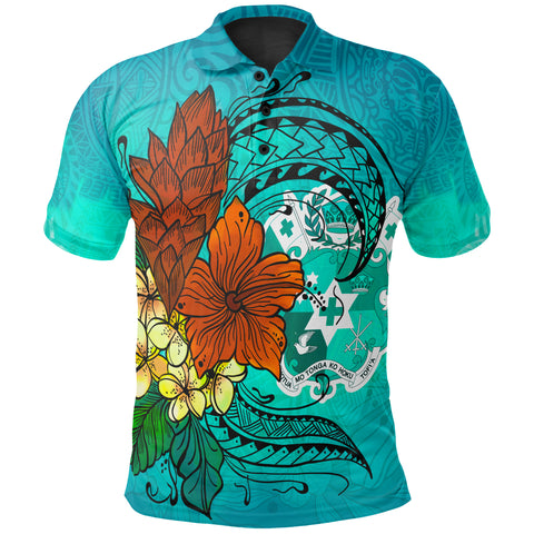Image of Tonga Polo Shirt - Tropical Flowers Style - BN01