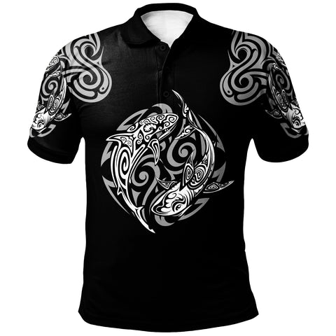 Polynesian Polo Shirt - Polynesian Shark Tatoo Black Color - BN20