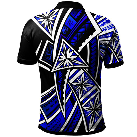 Image of Guam Polo Shirt - Tribal Flower Special Pattern Blue Color - BN20
