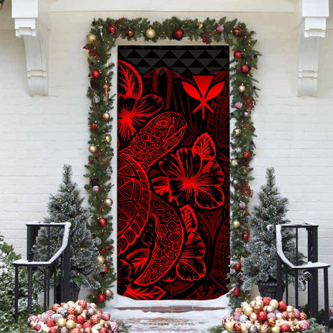 Polynesian Hawaii Door Cover Turtle Hibiscus Red - BN39
