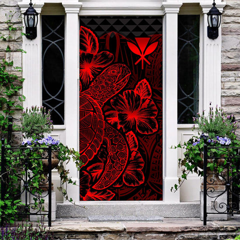 Polynesian Hawaii Door Cover Turtle Hibiscus Red