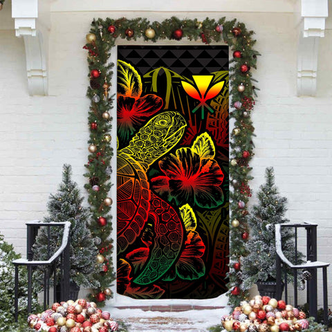 Polynesian Hawaii Door Cover Turtle Hibiscus Reggae - BN39