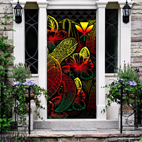 Polynesian Hawaii Door Cover Turtle Hibiscus Reggae