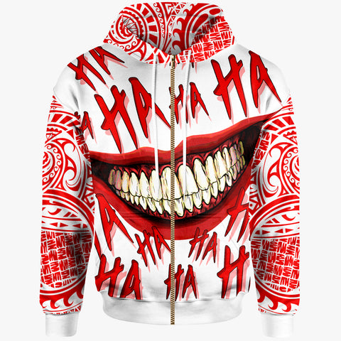 Polynesian Zip-Up Hoodie - Funny Style Special Version White - BN20