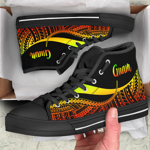 Guam High Top Shoes Reggae - Polynesian Tentacle Tribal Pattern
