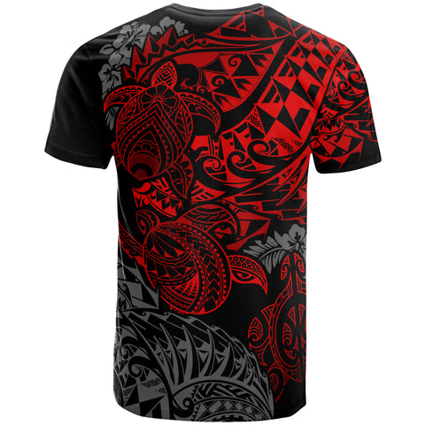 Image of Tahiti Polynesian T-shirt - Red Turtle Flowing
