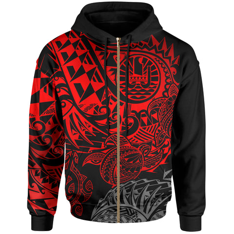 Tahiti Polynesian Zip-Up Hoodie - Red Turtle Hibiscus Flowing
