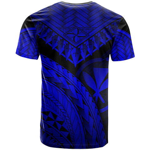 Hawaii Custom Personalised T-Shirt Royal Blue - Polynesian Necklace and Lauhala