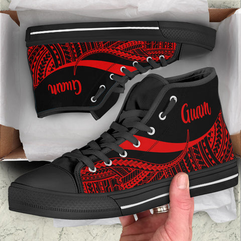 Guam High Top Shoes Red - Polynesian Tentacle Tribal Pattern