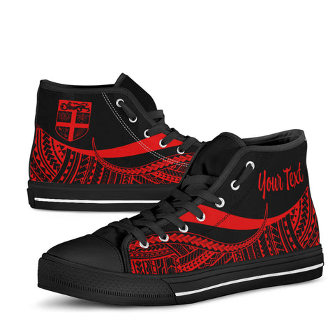 Fiji Custom Personalised High Top Shoes Red - Polynesian Tentacle Tribal Pattern - BN11