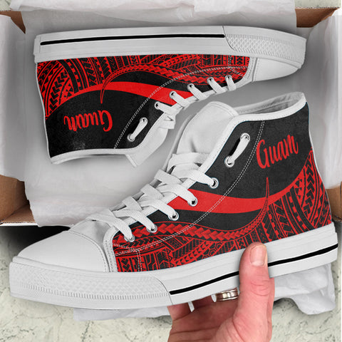 Guam High Top Shoes Red - Polynesian Tentacle Tribal Pattern - BN11