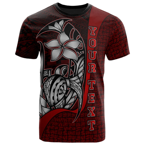 Wallis and Futuna Polynesian Custom Personalised T-Shirt Red - Turtle with Hook