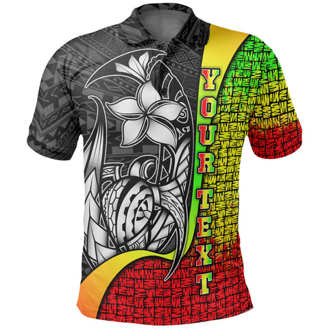 Samoa Custom Personalised Polo Shirt Reggae - Turtle with Hook