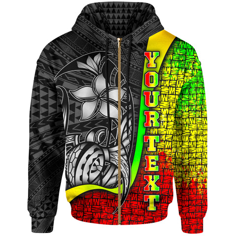 Polynesian Hawaii Custom Personalised Zip-Up Hoodie Kanaka Maoli Reggae - Turtle with Hook
