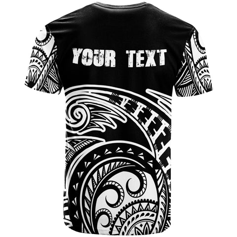 Fiji Custom Personalised T-Shirt - Ethnic Style With Round Black White Pattern - BN20