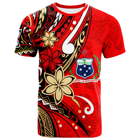 Samoa T-Shirt - Tribal Flower With Special Turtles Red Color - BN20
