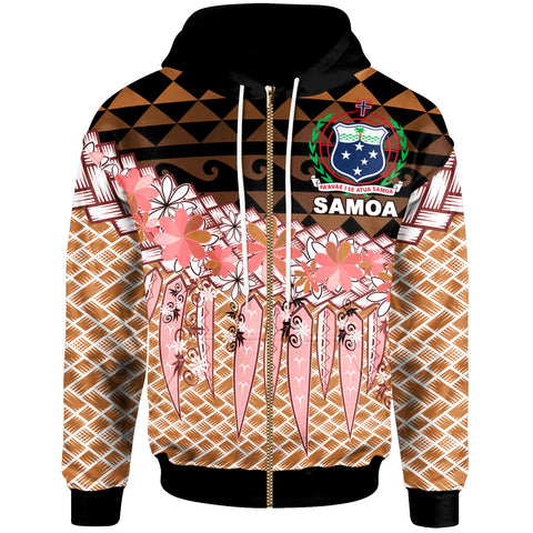 Samoa Zip Hoodie - Coconut Leaves Weave Pattern Brown - BN20