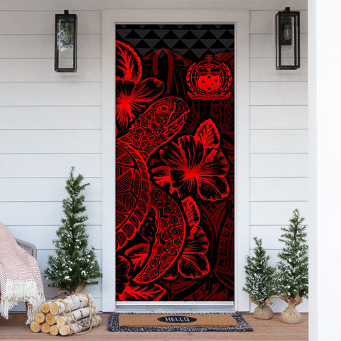Samoa Door Cover Turtle Hibiscus Red - BN39