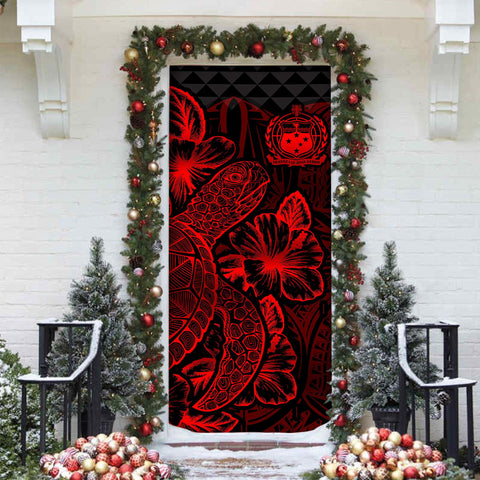 Image of Samoa Door Cover Turtle Hibiscus Red - BN39