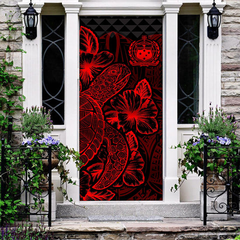 Samoa Door Cover Turtle Hibiscus Red