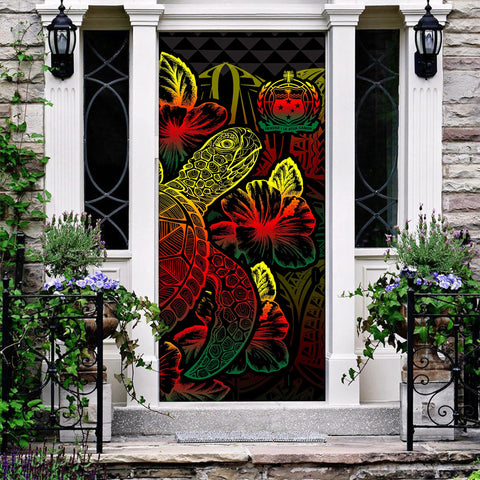 Samoa Door Cover Turtle Hibiscus Reggae