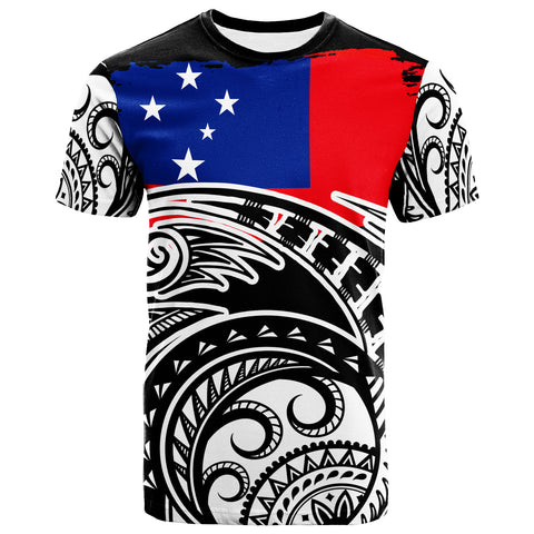 Samoa Custom Personalised T-Shirt - Ethnic Style With Round Black White Pattern - BN20