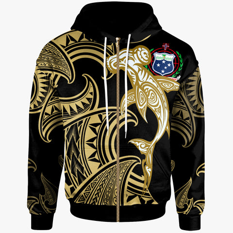 Samoa Zip-up Hoodie - Hammerhead Shark Tribal Pattern - BN20