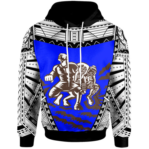 Samoa Hoodie - Samoan Legend Tiitii God Of Earthquake Wrestling Blue - BN20
