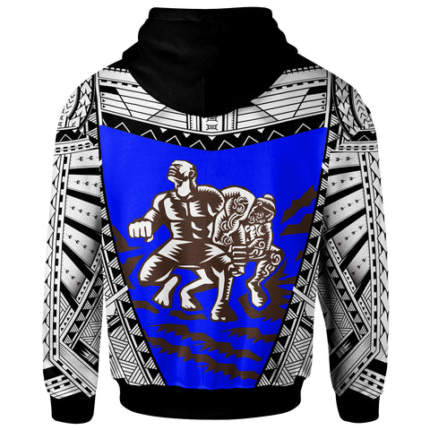 Samoa  Zip-Up Hoodie - Samoan Legend Tiitii God Of Earthquake Wrestling Blue - BN20