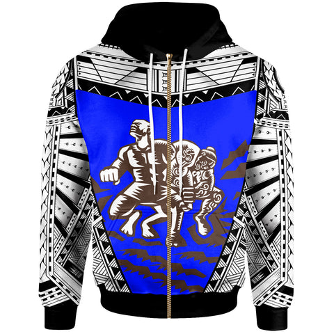 Image of Samoa  Zip-Up Hoodie - Samoan Legend Tiitii God Of Earthquake Wrestling Blue - BN20