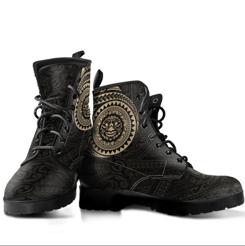 Image of Polynesian Smiling Tiki Leather Boots A7 1ST