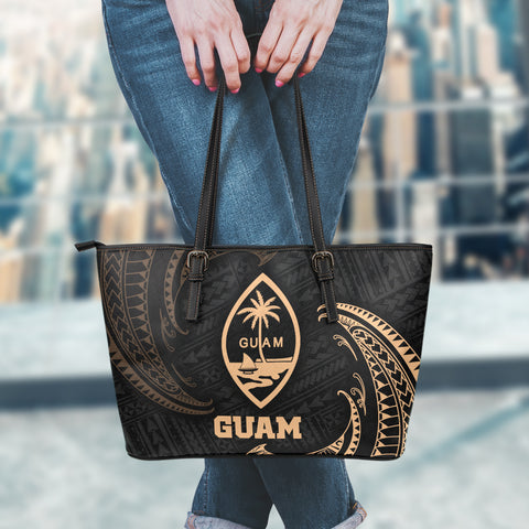 Guam Polynesian Leather Tote Bag - Gold Tribal Wave - BN12