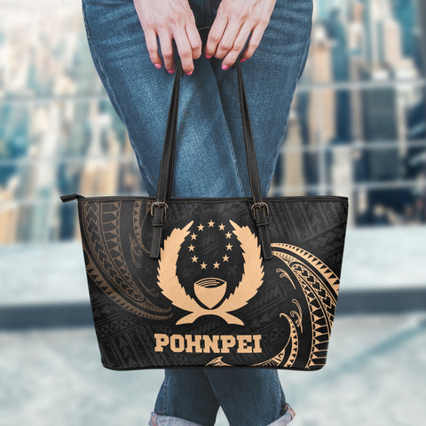Pohnpei Micronesia Leather Tote Bag - Gold Tribal Wave - BN12