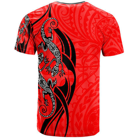 Image of Polynesian T-Shirt - Polynesian Lizard Tattoo Red Color - BN20