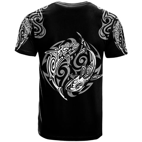 Polynesian T-Shirt - Polynesian Shark Tatoo Black Color - BN20