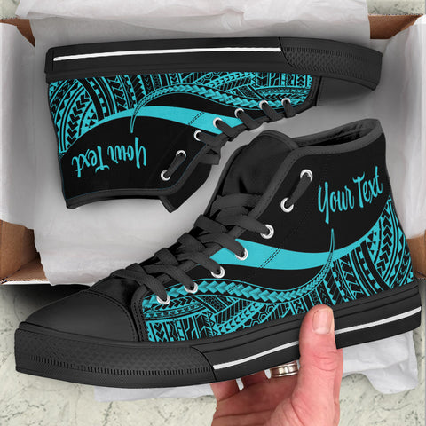 Fiji Custom Personalised High Top Shoes Turquoise - Polynesian Tentacle Tribal Pattern