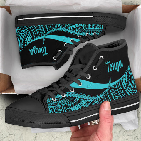Tonga High Top Shoes Turquoise - Polynesian Tentacle Tribal Pattern