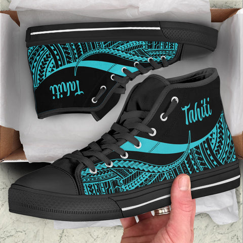 Tahiti High Top Shoes Turquoise - Polynesian Tentacle Tribal Pattern