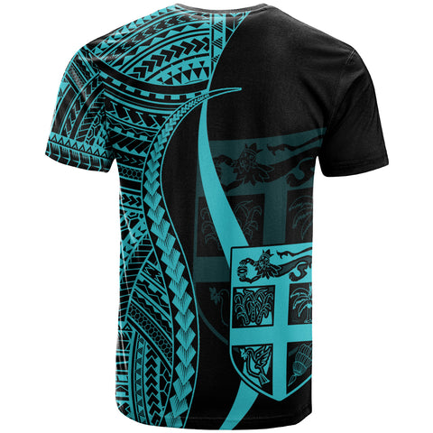 FiJi Custom Personalised T-Shirt Turquoise - Polynesian Tentacle Tribal Pattern
