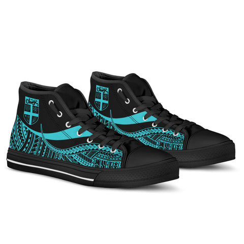 Fiji Custom Personalised High Top Shoes Turquoise - Polynesian Tentacle Tribal Pattern - BN11