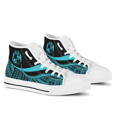 Tonga High Top Shoes Turquoise - Polynesian Tentacle Tribal Pattern - BN11