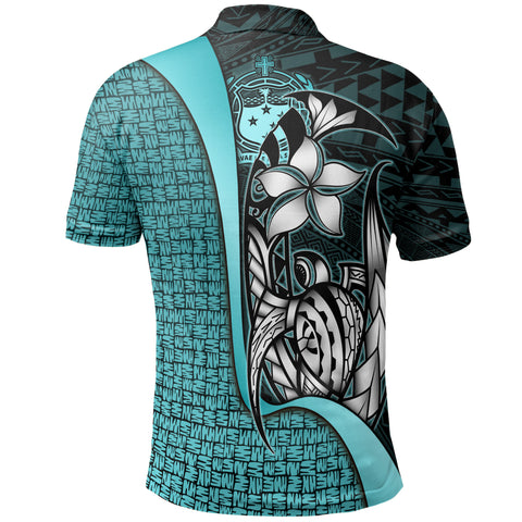 Image of Samoa Custom Personalised Polo Shirt Turquoise - Turtle with Hook