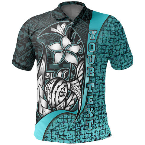 Samoa Custom Personalised Polo Shirt Turquoise - Turtle with Hook